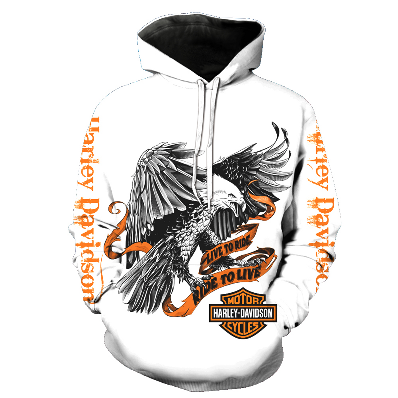 **(NEW-MENS & WOMENS-OFFICIAL-3-D-GRAPHIC-PRINTED-HARLEY-HOODIE,IN-WHITE/HARLEY-DAVIDSON-EAGLE & LIVE-TO-RIDE/RIDE-TO-LIVE & HARLEY-EMBLEM,NICE-DETAILED-CUSTOM-GRAPHIC-PRINTED/PREMIUM-FULL-DOUBLE-SIDED-PULLOVER-HOODIES)**