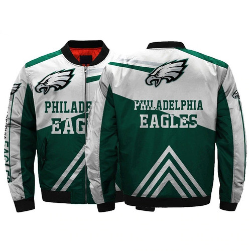 **(OFFICIAL-N.F.L.PHILADELPHIA-EAGLES-JACKETS/CLASSIC-EAGLES-TEAM-COLORS & OFFICIAL-EAGLES-LOGOS-BOMBER/FLIGHT-JACKET,NICE-CUSTOM-3D-ALL-OVER-GRAPHIC-PRINTED-DOUBLE-SIDED/ZIPPERED-FRONT-WARM-PREMIUM-N.F.L.EAGLES-FLIGHT-JACKETS)**