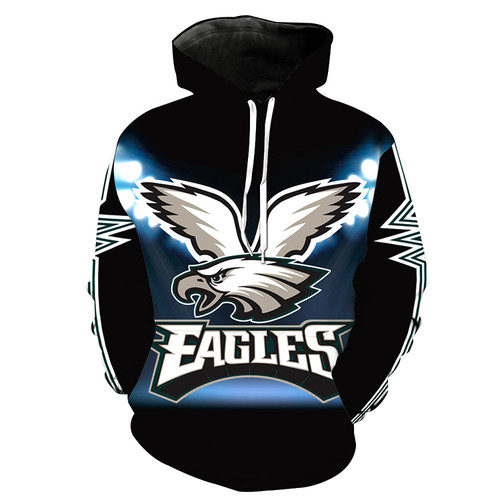 **(N.F.L. PHILADELPHIA-EAGLES,OFFICIALLY-LICENSED-TEAM-HOODIES-IN-TRENDY NEW-BLACK/3-D-CUSTOM-DETAILED-GRAPHIC-PRINTED/PREMIUM-WARM-FLEECE-DOUBLE-SIDED/OFFICIAL-TEAM-COLOR-POCKETED,PREMIUM-PULLOVER-HOODIES)**