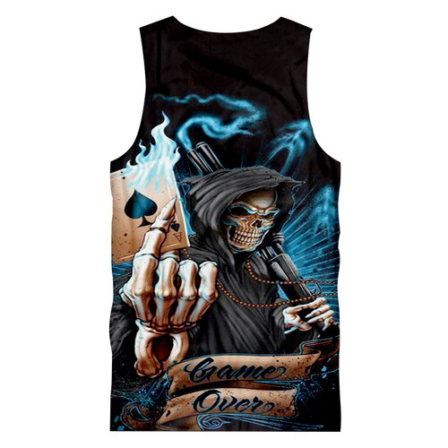 **(MENS-GRIMM-REAPER-3D-TANK-TOPS/WITH-SMOKIN-SHOTGUN & FLAMING-ACE-OF-SPADES/GAME-OVER,NICE-3D-CUSTOM-GRAPHIC-PRINTED-PREMIUM/DOUBLE-SIDED-TRENDY-SUMMER-TANK-TOPS)**