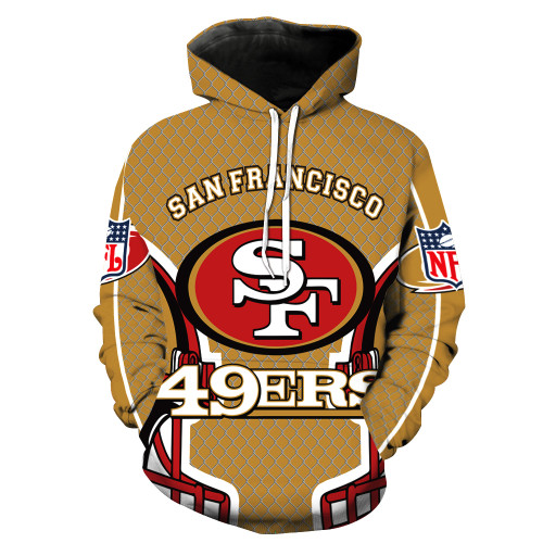 **(N.F.L. SAN-FRANCISCO-49ERS,OFFICIALLY-LICENSED-TEAM-HOODIES-IN-TRENDY NEW-RED & GOLD/3-D-CUSTOM-DETAILED-GRAPHIC-PRINTED/PREMIUM-WARM-DOUBLE-SIDED-PRINTED-TEAM-DESIGN/OFFICIAL-TEAM-COLOR-POCKETED,PREMIUM-PULLOVER-HOODIES)**