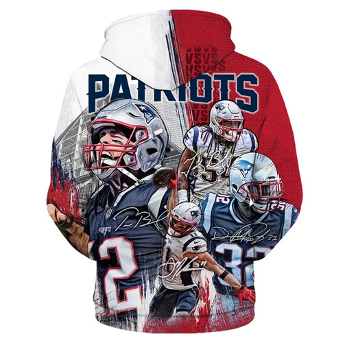 **(N.F.L. NEW-ENGLAND-PATRIOTS & TOM-BRADY-NO.12/OFFICIALLY-LICENSED-TEAM-HOODIES-IN-TRENDY-RED,WHITE & BLUE/3-D-CUSTOM-DETAILED-GRAPHIC-PRINTED/PREMIUM-WARM-DOUBLE-SIDED-PRINTED-TEAM-DESIGN/OFFICIAL-TEAM-COLOR-POCKETED,PREMIUM-PULLOVER-HOODIES)**