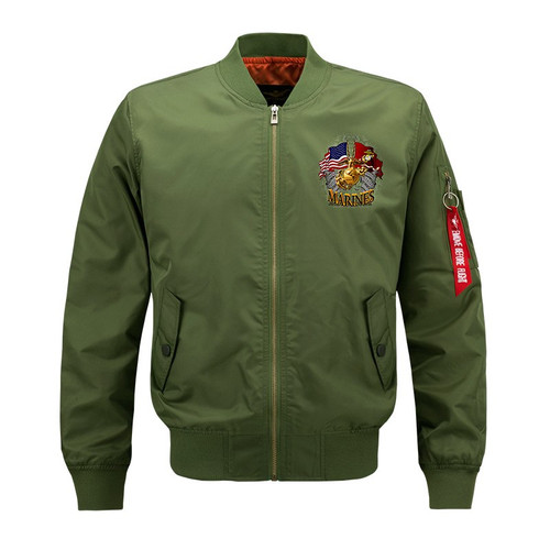 **NEW-OFFICIALLY-LICENSED-U.S. MARINES,MENS-HEAVY-WEIGHT-THICK-FLIGHT/BOMBER-JACKETS,WITH DUAL-FLAGS,MARINE-ANCHOR/GLOBE & SEMPER-FIDELIS,DOUBLE-SIDED-PRINTED-BOMBER/MA-1 FLIGHT-JACKET)**