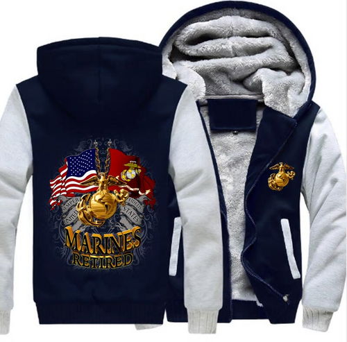**(NEW-OFFICIALLY-LICENSED-U.S. MARINES-RETIRED,DOUBLE-FLAGS-DISPLAY & MARINE-GLOBE/ANCHOR,NICE-CUSTOM-GRAPHIC-PRINTED/DOUBLE-SIDED-HEAVY-FLEECE-ZIPPER-UP-HOODIES)**