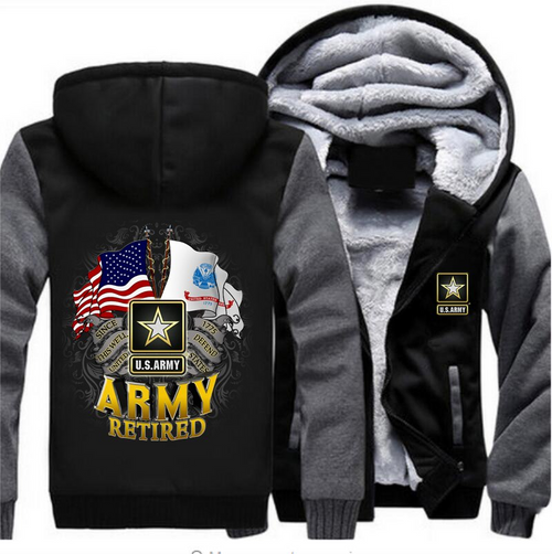 **(NEW-OFFICIALLY-LICENSED-U.S. ARMY-RETIRED-HOODIES,DOUBLE-FLAGS-DISPLAY & OFFICIAL-ARMY-STAR,NICE-CUSTOM-GRAPHIC-PRINTED/DOUBLE-SIDED-HEAVY-FLEECE-ZIPPER-UP-HOODIES)**