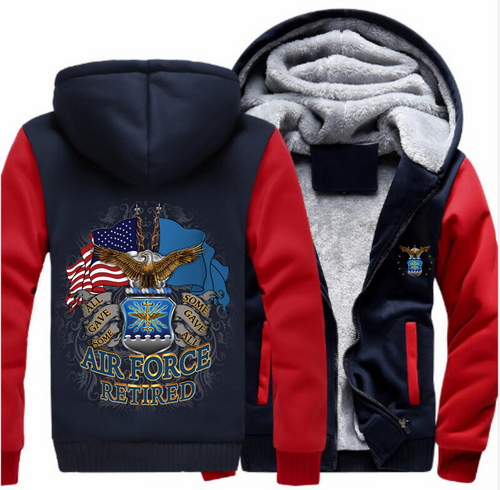 **(NEW-OFFICIALLY-LICENSED-U.S. AIR-FORCE-RETIRED-HOODIES,DOUBLE-FLAGS-DISPLAY & OFFICIAL-AIR-FORCE-LOGO,NICE-CUSTOM-GRAPHIC-PRINTED/DOUBLE-SIDED-HEAVY-FLEECE-ZIPPER-UP-AIR-FORCE-HOODIES)**