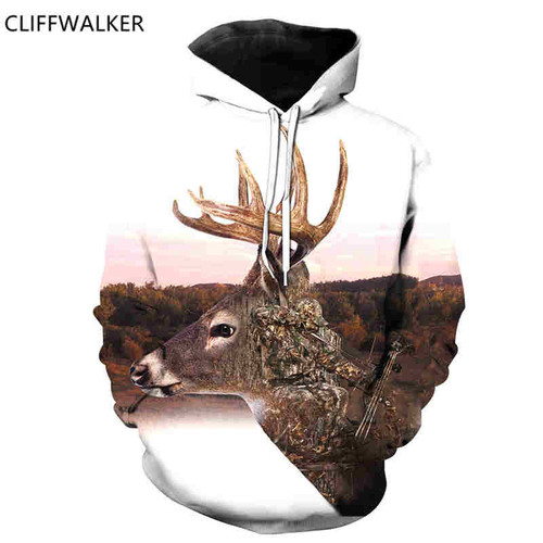 **(NEW-3D-CAMO.ARCHERY-HUNTER/BIG-THROPY-BUCK-DEER-IN-THE-BRUSH,NICE-DETAILED-GRAPHIC-PRINTED/PREMIUM-DOUBLE-SIDED-PULLOVER-HUNTING-HOODIES)**