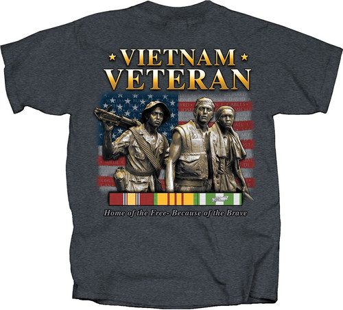 """**(OFFICIALLY-LICENSED-VIETNAM-VETERANS-TEE,""""HOME-OF-THE-FREE,BECAUSE-OF-THE-BRAVE/VIETNAM-COMBAT-RIBBON,NEW-PREMIUM-DETAILED-GRAPHIC-PRINTED-DESIGN/DOUBLE-SIDED-PRINTED-OFFICIAL-VETERAN-TEES)**"""