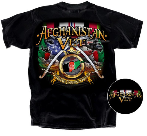 """**(OFFICIALLY-LICENSED-AFGHANISTAN-WAR-VETERANS-TEE,""""OPERATION-ENDURING-FREEDOM-VETERAN"""",AFGHANISTAN-COMBAT-RIBBON & CROSSED-SWORDS,NEW-PREMIUM-DETAILED-GRAPHIC-PRINTED-DESIGN/DOUBLE-SIDED-PRINTED-OFFICIAL-VETERAN-TEES)**"""
