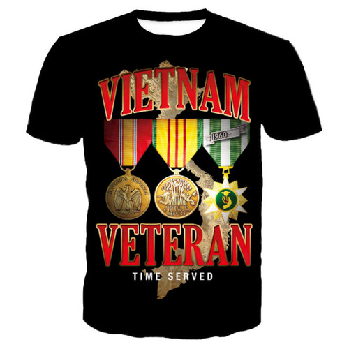 **(NEW-GRAPHIC-PRINTED-3D-OFFICIAL-VIETNAM-VETERAN & TIME-SERVED/VETERAN-WAR-RIBBONS & MEDALS,NICE-PREMIUM-GRAPHIC-PRINTED-3D/VETERANS-TEES)**