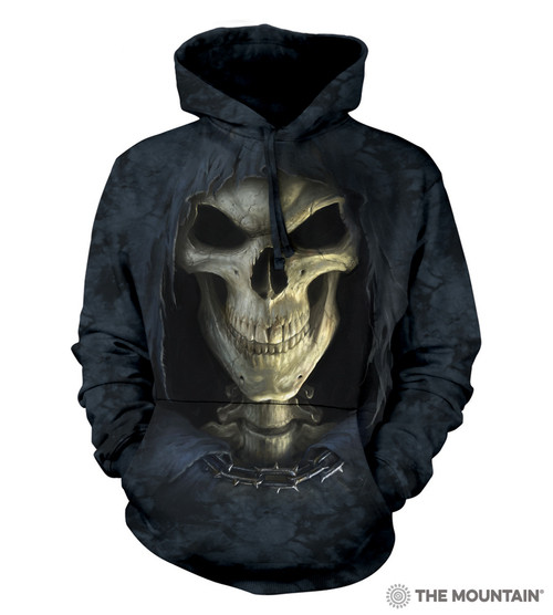 **(OFFICIALLY-LICENSED-THE-MOUNTAIN/THE-GRIMM-REAPER-OF-DEATH-SKULL,JERSEY-LINED-WARM-PULLOVER-HOODIES,NICE-DETAILED-PREMIUM-GRAPHIC-PRINTED-FANTASY-UNISEX-HOODIES)**