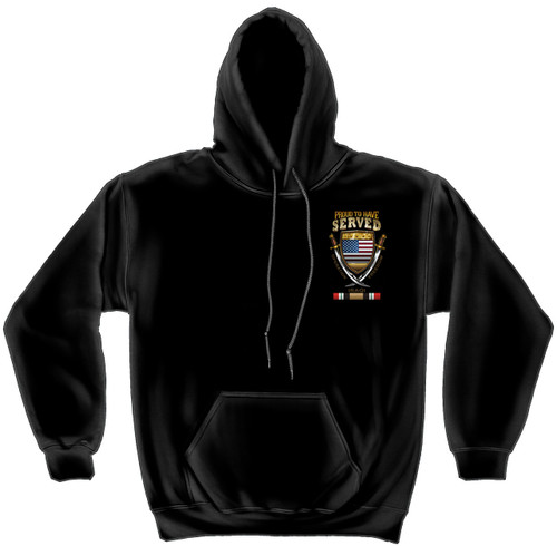 **(OFFICIALLY-LICENSED-MILITARY-IRAQ-COMBAT-VETERANS & PROUD-TO-HAVE-SERVED/OPERATION-IRAQI-FREEDOM & IRAQ-COMBAT-RIBBONS,NICE-DETAILED-GRAPHIC-CUSTOM-GRAPHIC-PRINTED/PREMIUM-DOUBLE-SIDED-WARM-FLEECE-PULLOVER,SIDE-POCKET-HOODIES:)**