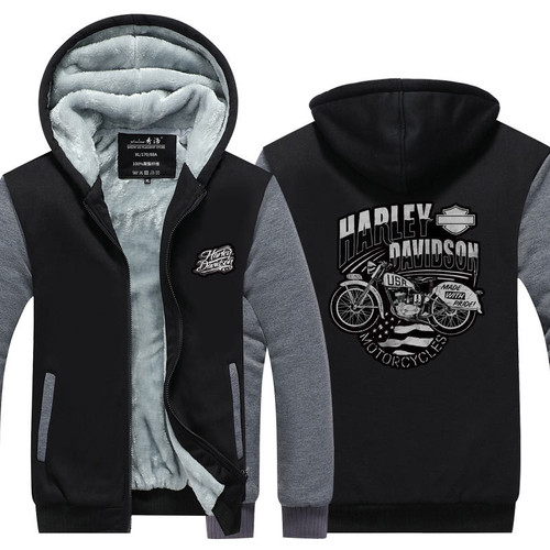 **(OFFICIAL-HARLEY/DAVIDSON-MOTORCYCLES,NICE-3D-GRAPHIC-PRINTED-DOUBLE-SIDED/BLACK & GREY,HEAVY-WARM-FLEECE-LINNED-ZIP-UP-FRONT,SIDE-POCKET-HOODIES)**
