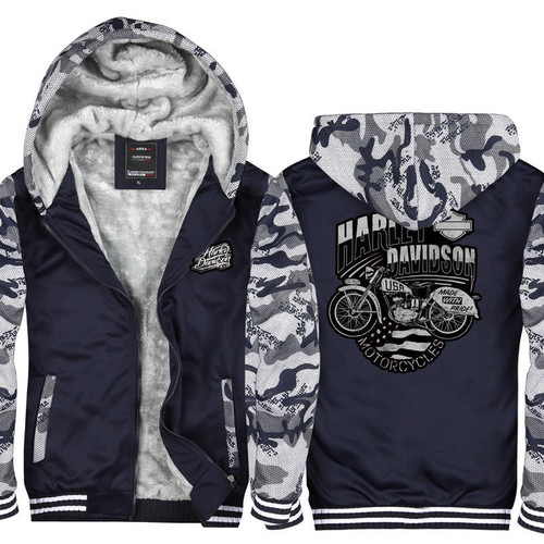 **(OFFICIAL-HARLEY/DAVIDSON-MOTORCYCLES,NICE-3D-GRAPHIC-PRINTED-DOUBLE-SIDED/BLUE & URBAN-CITY-CAMO,HEAVY-WARM-FLEECE-LINNED-ZIP-UP-FRONT,SIDE-POCKET-HOODIES)**