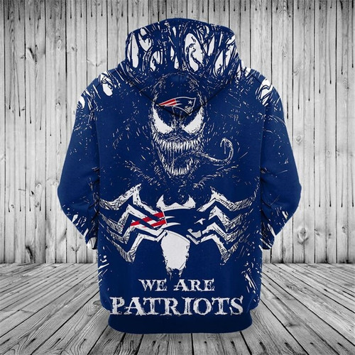 **(OFFICIAL-N.F.L.NEW-ENGLAND-PATRIOTS/3D-VENOM-SKULL & WE-ARE-PATRIOTS/BIG-OFFICIAL-NEW-ENGLAND-PATRIOTS-LOGOS,PREMIUM-3D-GRAPHIC-PRINTED/DOUBLE-SIDED-WARM-PULLOVER-N.F.L.PATRIOTS-TEAM-COLORED-HOODIES)**
