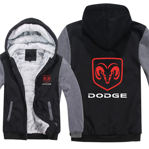 **(DODGE-RAM/NEW-OFFICIALLY-LICENSED-DODGE-RAM,NEW-TWO-TONE-STYLE/BLACK & GREY-WARM-FLEECE-LINED-JACKETS/3-D-CUSTOM-DETAILED-GRAPHIC-PRINTED-DOUBLE-SIDED-DODGE-RAM-LOGOS/ZIP-UP-FRONT-WARM-PREMIUM-FLEECE-JACKETS)**
