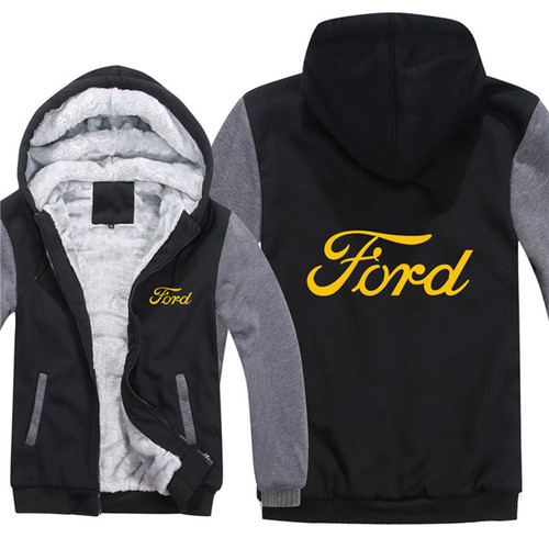 **(NEW-OFFICIALLY-LICENSED-FORD,NEW-TWO-TONE-STYLE/MIDNIGHT-BLACK & GREY-WARM-FLEECE-LINED-JACKETS/3-D-CUSTOM-LOGO,DETAILED-GRAPHIC-PRINTED-DOUBLE-SIDED-FORD-LOGOS/ZIP-UP-FRONT-WARM-PREMIUM-FLEECE-JACKETS)**
