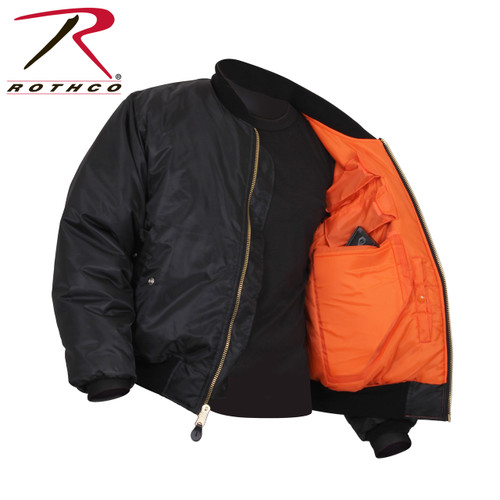 """**(Discreetly carry your most valuable items in Rothco's Concealed Carry MA-1 Flight Jacket. We've combined the classic military bomber style jacket with padded concealments pockets (on both the left and right side of jacket) and four mag pouches. The concealed carry pockets with ambidextrous layout are padded with hook and loop closures to ensure comfort and proper concealment; the pockets measure 7.75"""" X 10.5"""" and can easily fit a handgun. In addition to the concealed carry pockets and mag pouches, the MA-1 Jacket has two inside slash pockets with snap closure, two front slash pockets with flap and snap closure and a zippered utility pocket located on the left sleeve. In line with the classic military-style, Rothco's Concealed Carry Flight Jacket features 100% nylon water repellent outer shell, reversible orange lining, and poly fiberfill for warmth. Brass zippers and an extra full cut design complete the jacket. This jacket was designed to conceal not only your firearms but can securely carry expensive tech devices, important documents and more..)**"""
