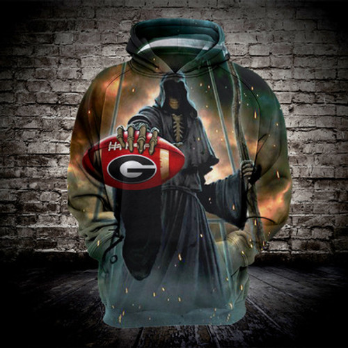 **(OFFICIALLY-LICENSED-N.F.L.GREEN-BAY-PACKERS-FOOTBALL & GRIMM-REAPER-IN-SUDDEN-DEATH,NICE-3D-GRAPHIC-PRINTED-ALL-OVER/DOUBLE-SIDED-PULLOVER-PACKERS-FOOTBALL-HOODIES:)**