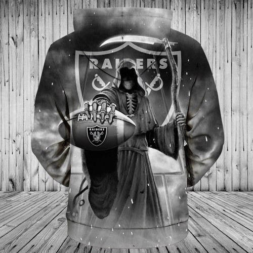 **(OFFICIALLY-LICENSED-N.F.L.OAKLAND-RAIDERS-PULLOVER-HOODIES & GRIMM-REAPER-IN-SUDDEN-DEATH-FOOTBALL,NICE-CUSTOM-3D-GRAPHIC-PRINTED-DOUBLE-SIDED-ALL-OVER-DESIGN/RAIDERS-TEAM-FOOTBALL-LOGO,PREMIUM-PULLOVER-POCKET-HOODIES:)**