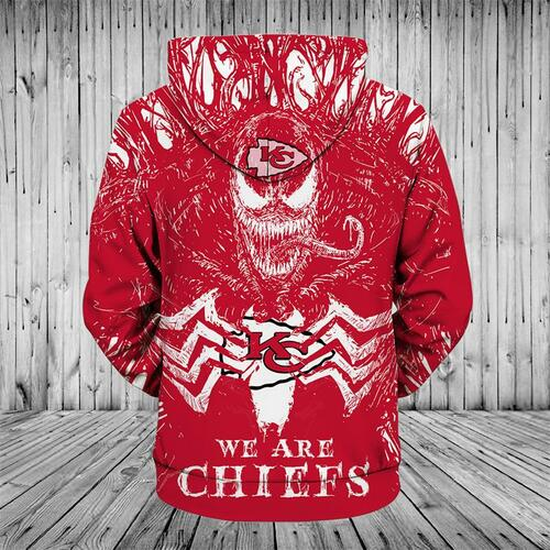 **(OFFICIAL-N.F.L.KANSAS-CITY-CHIEFS/3D-VENOM-SKULL & WE-ARE-CHIEFS/BIG-OFFICIAL-KANSAS-CITY-CHIEFS-LOGOS-ON-FRONT,PREMIUM-3D-GRAPHIC-PRINTED/DOUBLE-SIDED-WARM-PULLOVER-N.F.L.CHIEFS-TEAM-COLORED-HOODIES)**
