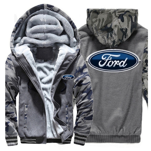 **(NEW-OFFICIALLY-LICENSED-FORD,NEW-TWO-TONE-STYLE/TRENDY-GREY & CAMO.,WARM-FLEECE-LINED-JACKETS/3-D-CUSTOM-CLASSIC-BLUE-FORD-LOGO,DETAILED-GRAPHIC-PRINTED-DOUBLE-SIDED-FORD-LOGOS/ZIP-UP-FRONT-WARM-PREMIUM-FLEECE-JACKETS)**