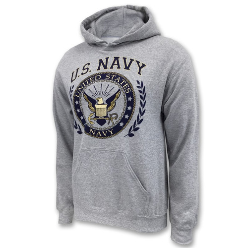 **(NEW-OFFICIALLY-LICENSED-U.S.NAVY,CLASSIC-U.S.NAVY-SYMBOL & NAVY-ANCHOR/IN-TRENDY-SPORTS-HEATHER-GREY,NICE-DETAILED-CUSTOM-GRAPHIC-PRINTED/PREMIUM-DOUBLE-SIDED,PULLOVER-FLEECE-HOODIES:)**