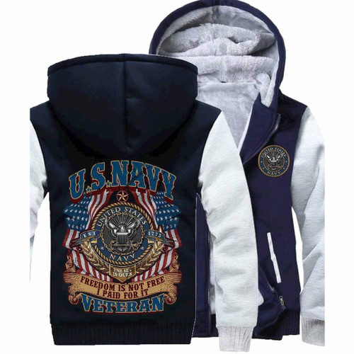 **(NEW-OFFICIALLY-LICENSED-U.S. NAVY-VETERAN & FREEDOM-IS-NOT-FREE/I-PAID-FOR-IT & THE-SEA-IS-OURS/WITH-SYMBOLIC-EAGLE & OFFICIAL-CLASSIC-NAVY-ANCHOR-SHIELD/NICE-CUSTOM-3D-GRAPHIC-PRINTED/DOUBLE-SIDED-HEAVY-FLEECE-ZIPPER-UP-HOODIES)**