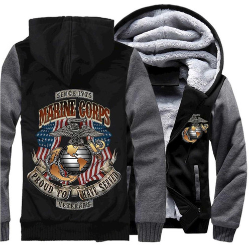**(NEW-OFFICIALLY-LICENSED-U.S. MARINE-CORPS-VETERAN & PROUD-TO-HAVE-SERVED/WITH-OFFICIAL-CLASSIC-MARINE-GLOBE & NAVY-ANCHOR-SHIELD/NICE-CUSTOM-3D-GRAPHIC-PRINTED/DOUBLE-SIDED-HEAVY-FLEECE-ZIPPER-UP-HOODIES)**