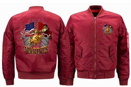 **(NEW-OFFICIALLY-LICENSED-U.S. MARINES,MENS-HEAVY-WEIGHT-THICK-FLIGHT/BOMBER-JACKETS,WITH DUAL-FLAGS,CLASSIC-OFFICIAL-MARINE-ANCHOR/GLOBE & SEMPER-FIDELIS,NICE-3D-GRAPHIC-PRINTED-DOUBLE-SIDED-PRINTED-BOMBER/MA-1 FLIGHT-JACKETS,COMES-IN-MARRON)**