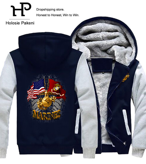 **(NEW-OFFICIALLY-LICENSED-U.S. MARINE-CORPS/SEMPER-FIDELIS & WAVING-DOUDLE-FLAGS/WITH-OFFICIAL-CLASSIC-MARINE-GLOBE & NAVY-ANCHOR-SHIELD/NICE-CUSTOM-3D-GRAPHIC-PRINTED/DOUBLE-SIDED-HEAVY-FLEECE-ZIPPER-UP-HOODIES)**