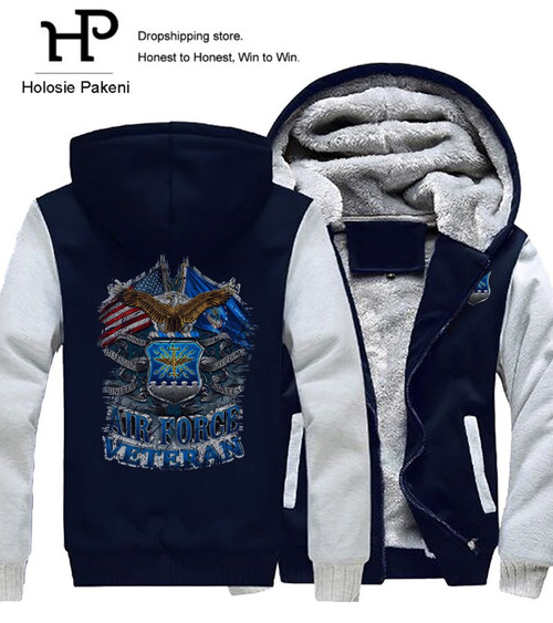 **(NEW-OFFICIALLY-LICENSED-U.S. AIR-FORCE-VETERAN/DEFENDING-FREEDOM-SINCE-1947/WITH-WAVING-DOUBLE-FLAGS & CLASSIC-PATRIOT-EAGLE/OFFICIAL-AIR-FORCE-LOGO-CREST,NICE-CUSTOM-3D-GRAPHIC-PRINTED/DOUBLE-SIDED-HEAVY-FLEECE-ZIPPER-UP-HOODIES)**