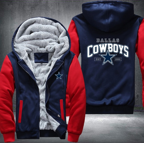 **(OFFICIALLY-LICENSED-N.F.L. DALLAS-COWBOYS/NEW-TWO-TONE-BLUE & RED,WARM-FLEECE-LINED-TEAM-JACKETS/3-D-CUSTOM-DETAILED-GRAPHIC-PRINTED-DOUBLE-SIDED-LOGOS/OFFICIAL-TEAM-COLOR-ZIP-UP-FRONT,PREMIUM-FLEECE-GAME-JACKETS)**