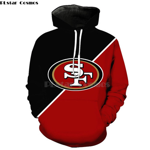 **(OFFICIALLY-LICENSED-N.F.L.SAN-FRANCISCO-49ERS & 3D-GRAPHIC-PRINTED-CLASSIC-OFFICIAL-49ERS-LOGO/NICE-PREMIUM-3D-ALL-OVER-DOUBLE-SIDED-PRINTED,PULLOVER-N.F.L.49ERS-TEAM-COLOR-HOODIES)**