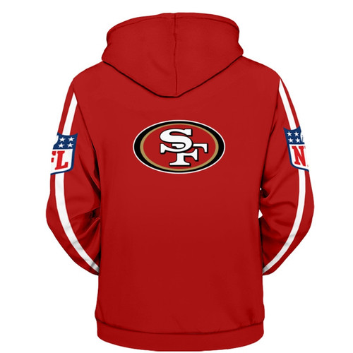 **(OFFICIALLY-LICENSED-N.F.L.SAN-FRANCISCO-49ERS-ZIPPER-UP-FRONT-HOODIES/ALL-OVER-GRAPHIC-3D-PRINTED-IN-49ERS-TEAM-COLORS/NICE-DETAILED-PREMIUM-DOUBLE-SIDED-PRINTED,WARM-ZIP-UP-FRONT-OFFICIAL-N.F.L.49ERS-TEAM-HOODIES)**