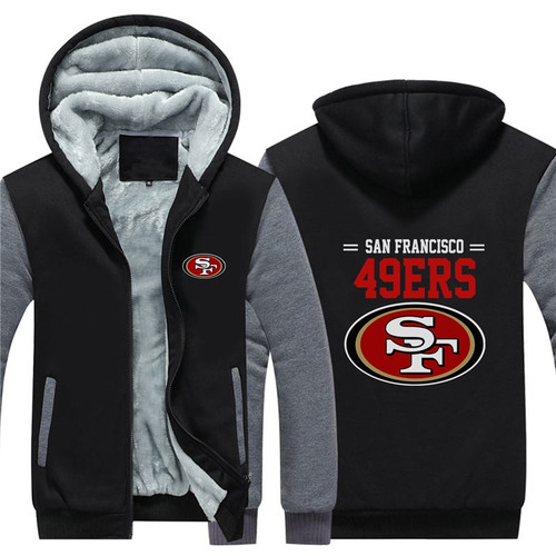 **(LIMITED-EDITION>OFFICIALLY-LICENSED-N.F.L.SAN-FRANCISCO-49ERS/TRENDY-NEW-TWO-TONE-STYLE,FLEECE-LINED-TEAM-JACKETS/3-D-CUSTOM-DETAILED-GRAPHIC-PRINTED-DOUBLE-SIDED-49ERS-LOGOS/OFFICIAL-TEAM-COLOR-POCKETED-ZIP-UP,WARM-PREMIUM-FLEECE-JACKETS)**