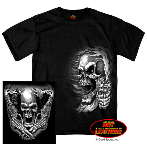 **(OFFICIAL-BIKERS/CLASSIC-ASSASSIN'S-SKULL & TWO-HOT-SMOKING-CROSSED-PISTOLS,NICE-CUSTOM-GRAPHIC-PRINTED,DOUBLE-SIDED-PREMIUM-PRINTED/NEW-TRENDY-BIKER-TEES)**