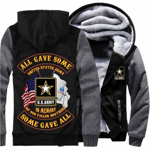 **(NEW-OFFICIALLY-LICENSED-U.S. ARMY-VETERAN/ALL-GAVE-SOME & SOME-GAVE-ALL,IN-MEMORY-OF-OUR-FALLEN-BROTHERS/WITH-PATRIOTIC-DUAL-FLAGS & OFFICIAL-CLASSIC-ARMY-STAR-SHIELD/NICE-CUSTOM-3D-GRAPHIC-PRINTED/DOUBLE-SIDED-HEAVY-FLEECE-ZIPPER-UP-HOODIES)**