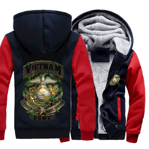 **(NEW-OFFICIALLY-LICENSED-U.S. MARINES-VIETNAM-VETERAN/PROUD-TO-HAVE-SERVED-1964-TO-1975 & OFFICIAL-MARINES-GLOBE/NAVY-ANCHOR-SYMBOL,NICE-CUSTOM-3D-GRAPHIC-PRINTED/DOUBLE-SIDED-HEAVY-FLEECE,TWO-TONE-COLOR-ZIPPER-UP-FRONT,U.S.M.C.-HOODIES)**