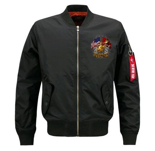 **(NEW-OFFICIALLY-LICENSED-U.S. MARINES,MENS-PREMIUM-HEAVY-WEIGHT-THICK-FLIGHT/BOMBER-JACKETS,WITH DUAL-FLAGS,MARINE-ANCHOR/GLOBE & SEMPER-FIDELIS,NICE-CUSTOM-GRAPHIC-PRINTED-DOUBLE-SIDED-BOMBER/MA-1 FLIGHT-JACKETS,COMES-IN-CLASSIC-MIDNIGHT-BLACK)**