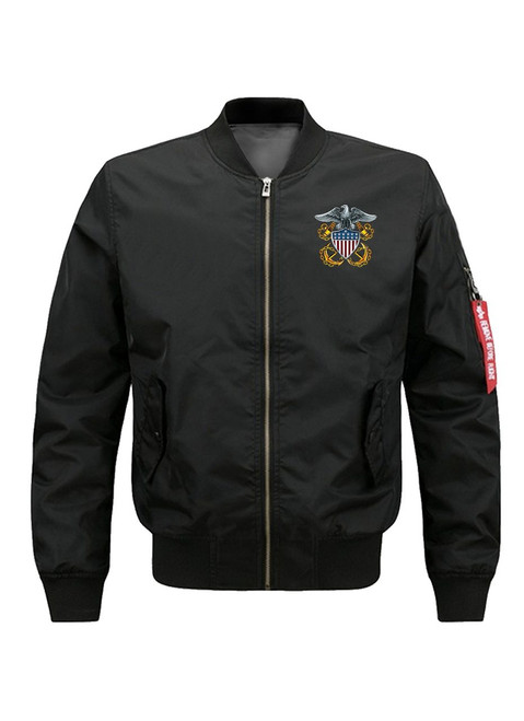 **(OFFICIALLY-LICENSED-U.S.NAVY-FLIGHT-JACKETS/THE-SEA-IS-OURS-SINCE-1775,WITH-CLASSIC-NAVY-SYMBOL & ANCHORS/WAVING-DUAL-FLAGS,NICE-GRAPHIC-PRINTED-PREMIUM-DOUBLE-SIDED,WARM-BOMBER-NAVY-FLIGHT-JACKETS:)**