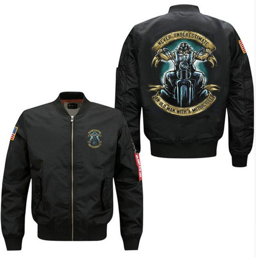 **(NEW-OFFICIAL-BIKERS-FLIGHT-JACKETS/NEVER-UNDER-ESTIMATE-AN-OLD-MAN-WITH-A-MOTORCYCLE,NICE-PREMIUM-CUSTOM-3D-GRAPHIC-PRINTED,DOUBLE-SIDED-BOMBER/MA-1 FLIGHT-JACKETS,COMES-IN-CLASSIC-MIDNIGHT-BLACK)**