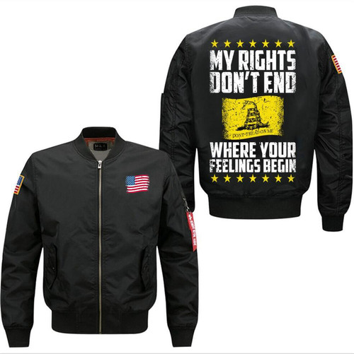 **(OFFICIAL-2ND-AMENDMENT-FLIGHT-JACKETS/MY-RIGHTS-DON'T-END,WHERE-YOUR-FEELINGS-BEGIN & CLASSIC-DON'T-TREAD-ON-ME-LOGO,NICE-PREMIUM-CUSTOM-3D-GRAPHIC-PRINTED,DOUBLE-SIDED-BOMBER/MA-1 FLIGHT-JACKETS,COMES-IN-CLASSIC-MIDNIGHT-BLACK)**