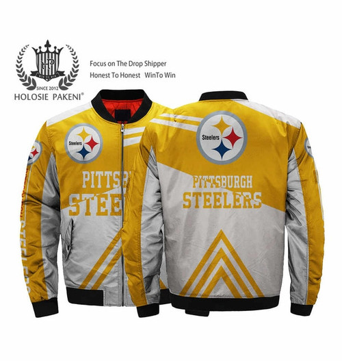 **(OFFICIALLY-LICENSED-N.F.L.PITTSBURGH-STEELERS & OFFICIAL-STEELERS-TEAM-COLORS & OFFICIAL-STEELERS-LOGO-BOMBER,MA-1 FLIGHT-JACKET/NICE-CUSTOM-3D-ALL-OVER-GRAPHIC-PRINTED-DESIGN/DOUBLE-SIDED-ZIP-UP-FRONT-STEELERS-FLIGHT-JACKETS)**