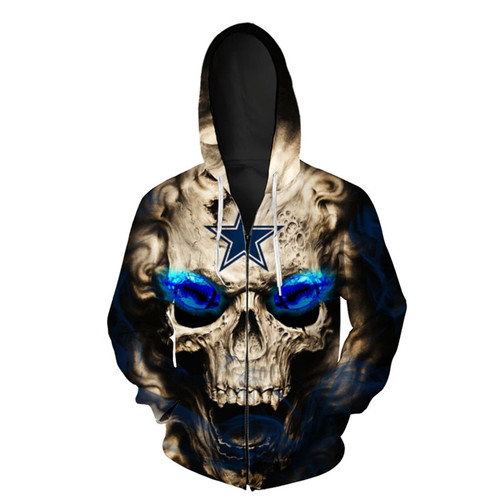 **(OFFICIAL-N.F.L.NEW-DALLAS-COWBOYS-LOGO/3D-NEON-SKULL & DALLAS-COWBOYS-FOOTBALL-BLUE-GLOWING-EYES,PREMIUM-3D-ALL-OVER-DOUBLE-SIDED-GRAPHIC-PRINTED/WARM-ZIPPER-UP-THE-FRONT-N.F.L.COWBOYS-TEAM-COLORED-HOODIES)**