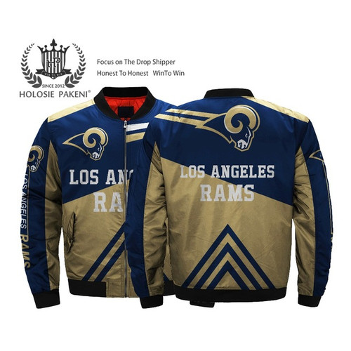 **(OFFICIALLY-LICENSED-N.F.L. LOS-ANGELES-RAMS & OFFICIAL-RAMS-TEAM-COLORS & OFFICIAL-RAMS-LOGO,BOMBER-MA-1 FLIGHT-JACKET/NICE-CUSTOM-3D-ALL-OVER-GRAPHIC-PRINTED-DESIGN/DOUBLE-SIDED-ZIP-UP-FRONT-RAMS-FLIGHT-JACKETS)**