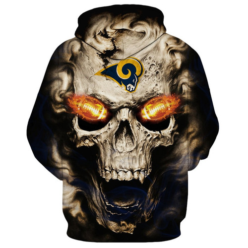 **(OFFICIAL-N.F.L.NEW-LOS-ANGELES-RAMS-LOGO/3D-NEON-SKULL & LOS-ANGELES-RAMS-BLAZING-FOOTBALL,ON-FIRE-IN-SKULLS-EYES,PREMIUM-3D-CUSTOM-GRAPHIC-PRINTED/DOUBLE-SIDED-WARM-PULLOVER-N.F.L. RAMS-TEAM-COLORED-HOODIES)**