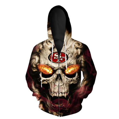**(OFFICIAL-N.F.L. SAN-FRANCISCO-49ERS-LOGO-ZIPPERED-HOODIES/3D-NEON-SKULL & SAN-FRANCISCO-49ERS-BLAZING-FOOTBALL,ON-FIRE-IN-SKULLS-EYES,PREMIUM-3D-CUSTOM-GRAPHIC-PRINTED/DOUBLE-SIDED-N.F.L. 49ERS-TEAM-COLORED-WARM-ZIP-UP-FRONT-HOODIES)**
