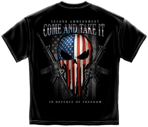 **(OFFICIAL-2ND-AMENDMENT>SKULL-OF-FREEDOM/COME & TAKE-IT,IN-DEFENSE-OF-FREEDOM & PATRIOTIC-STARS & STRIPES-PUNISHER-SKULL/NICE-CUSTOM-3D-GRAPHIC-PRINTED,DOUBLE-SIDED-PRINT-PREMIUM-GRAPHIC-DESIGNED-TEES)**