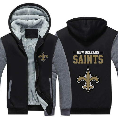 **(NEW-OFFICIALLY-LICENSED-N.F.L.NEW-ORLEANS-SAINTS/TRENDY-TWO-TONE-BLACK & GREY-COLOR,FLEECE-LINED-TEAM-JACKETS/3-D-CUSTOM-DETAILED-GRAPHIC-PRINTED-DOUBLE-SIDED-SAINTS-LOGOS/OFFICIAL-TEAM-COLOR-POCKETED-ZIP-UP,WARM-PREMIUM-FLEECE-JACKETS)**